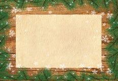 Предпосылка приветствию рождества с деревянной рамкой Стоковые Фотографии RF