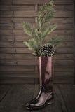 Предпосылка приветствию рождества Wellies Стоковые Фотографии RF