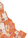 Предпосылка 10 примечаний евро клала в угол Стоковые Фотографии RF