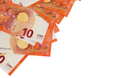 Предпосылка 10 примечаний евро клала в угол Стоковые Фото