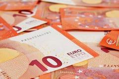Предпосылка 10 примечаний евро Стоковое фото RF