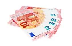 Предпосылка 10 примечаний евро Стоковая Фотография RF