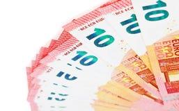Предпосылка 10 примечаний евро Стоковые Фотографии RF