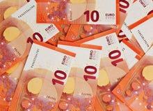 Предпосылка 10 примечаний евро Стоковые Изображения RF