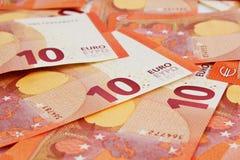 Предпосылка 10 примечаний евро Стоковое Изображение RF