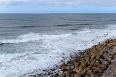 Предпосылка природы с камешками на побережье острова Мадейры Стоковое фото RF