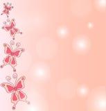 Предпосылка притяжки руки розовых бабочек. Стоковые Фото