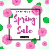 Предпосылка продажи весны красочная с розовыми цветками Стоковое Изображение