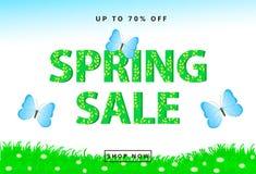 Предпосылка продажи весны красочная с травой, творческим текстом, голубым Стоковые Изображения RF