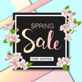 Предпосылка продажи весны с цветками Дизайн знамени скидки сезона с вишневыми цветами и лепестками Стоковое Изображение