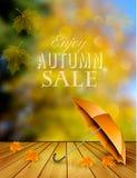 Предпосылка продажи осени с зонтиком Стоковое Изображение RF