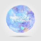 Предпосылка пятна акварели круглая, голубая Стоковая Фотография