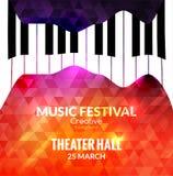 Предпосылка плаката музыкального фестиваля Кафе музыки рояля джаза выдвиженческое Стоковые Фотографии RF