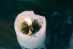 предпосылка пламени свечи украшения старая белая винтажная Стоковые Изображения RF