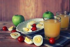 Предпосылка плодоовощ завтрака яичка деревянная Стоковые Фото