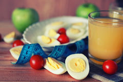 Предпосылка плодоовощ завтрака яичка деревянная Стоковое Фото