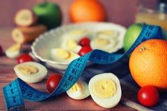 Предпосылка плодоовощ завтрака яичка деревянная Стоковое Изображение