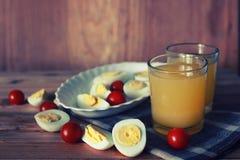 Предпосылка плодоовощ завтрака яичка деревянная Стоковое Изображение RF