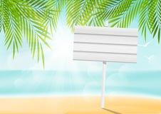 Предпосылка пляжа лета с шильдиком иллюстрация вектора