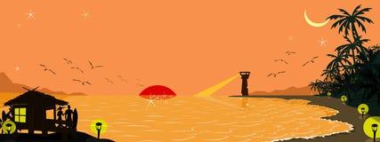 Предпосылка пляжа силуэта Стоковая Фотография RF