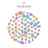 Предпосылка разбросанного покрашенного macaroon doodle для дизайна Стоковая Фотография