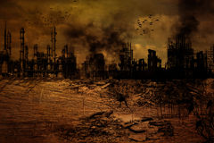 Предпосылка - разрушенный город Стоковое Изображение