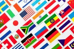 Предпосылка различных красочных национальных флагов мира коллаж Стоковая Фотография