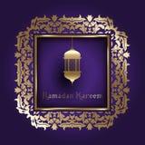 Предпосылка Рамазана с декоративной рамкой Стоковая Фотография RF