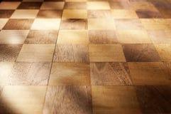 Предпосылка древесины доски шахматной доски Стоковые Изображения RF
