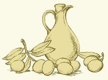 предпосылка рисуя флористический вектор травы Натюрморт масла в sprigs кувшина и оливок Стоковая Фотография RF