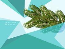 Предпосылка рождества абстрактная геометрических форм зима спруса неба сезона ветви предпосылки голубая Стоковые Изображения RF