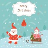 Предпосылка рождества винтажная с Сантой и снеговиком Стоковое Изображение