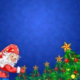 Предпосылка рождества волшебная с гномом и елью иллюстрация вектора