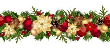 Предпосылка рождества горизонтальная безшовная. Стоковое Изображение RF