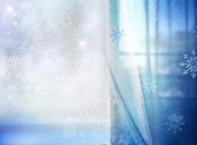 Предпосылка рождества голубая снежная с пустым космосом Стоковое фото RF