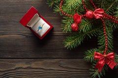 Предпосылка рождества деревянная с елью Стоковая Фотография
