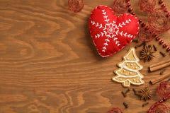 Предпосылка рождества деревянная с пряником Стоковое Изображение