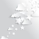 Предпосылка рождества звезд и облаков вектора Стоковые Фотографии RF