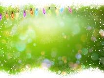 Предпосылка рождества зеленая с снегом 10 eps Стоковое Изображение RF