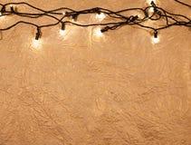 Предпосылка рождества золотая с светами Стоковое Изображение RF