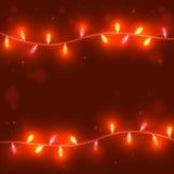 Предпосылка рождества красная с светлыми гирляндами, Стоковое Изображение