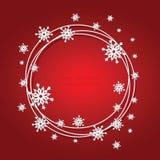 Предпосылка рождества красная с снежинками и местом Стоковые Фотографии RF
