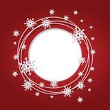 Предпосылка рождества красная с снежинками и местом Стоковые Изображения RF