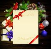 Предпосылка рождества на древесине Стоковые Изображения RF
