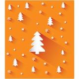 Предпосылка рождества оранжевая с снежинками и деревьями Стоковое Изображение RF