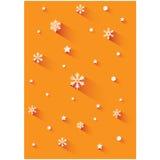 Предпосылка рождества оранжевая с снежинкой Стоковое фото RF