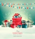 Предпосылка рождества праздника с мешком полным подарочных коробок Стоковая Фотография RF