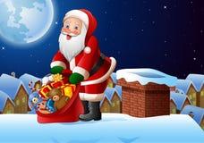 Предпосылка рождества при Санта Клаус держа сумку настоящих моментов на верхней части крыши иллюстрация вектора