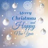 Предпосылка рождества с белыми снежинками и шариками бесплатная иллюстрация