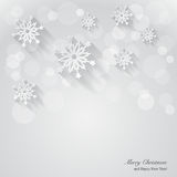Предпосылка рождества с бумажными снежинками. Стоковые Изображения RF